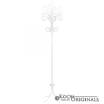 5-Light Tree Floor Candelabra - Pillar Style - White