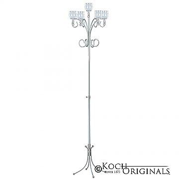 5-Light Tree Floor Candelabra - Teardrop Style - Frosted Silver