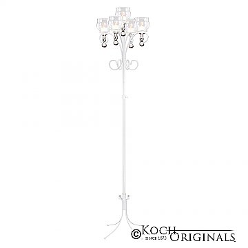 5-Light Tree Floor Candelabra - Teardrop Style - White