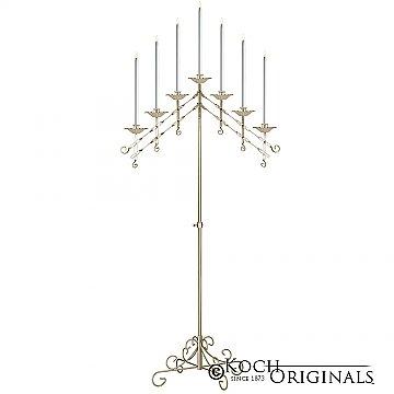 7-Light Adjustable Floor Candelabra  - Gold Leaf