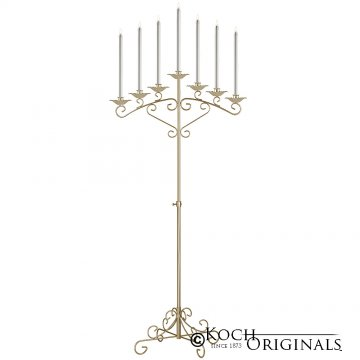 7-Light Fan Floor Candelabra - Gold Leaf