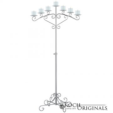 7-Light Fan Floor Candelabra - Pillar Style - Frosted Silver
