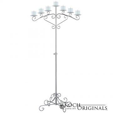 7-Light Fan Floor Candelabra - Pillar Style - Frosted Silver