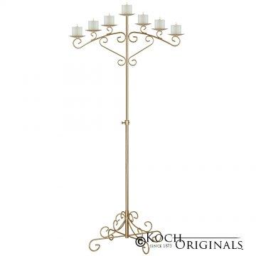 7-Light Fan Floor Candelabra - Pillar Style - Gold Leaf