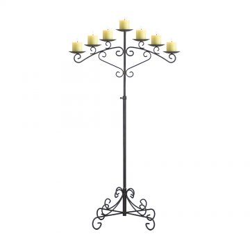 7-Light Fan Floor Candelabra - Pillar Style - Onyx Bronze