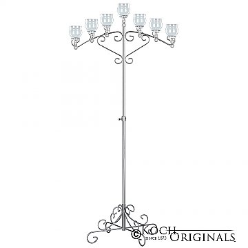 7-Light Fan Floor Candelabra - Teardrop Style - Frosted Silver