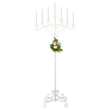 7-Light Fan Floor Candelabra - White