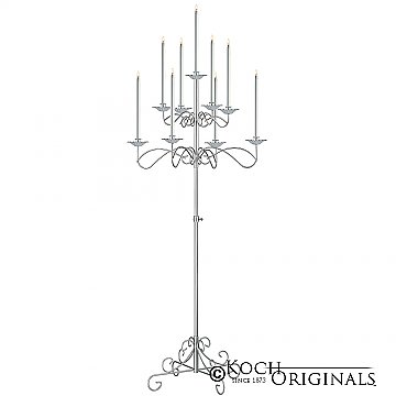 9-Light Tree Floor Candelabra - Frosted Silver