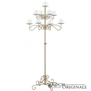 9-Light Tree Floor Candelabra - Pillar Style - Gold Leaf