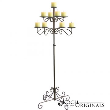 9-Light Tree Floor Candelabra - Pillar Style - Onyx Bronze