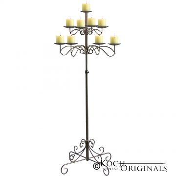 9-Light Tree Floor Candelabra - Pillar Style - Onyx Bronze