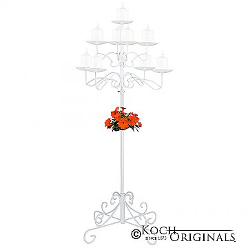 9-Light Tree Floor Candelabra - Pillar Style - White