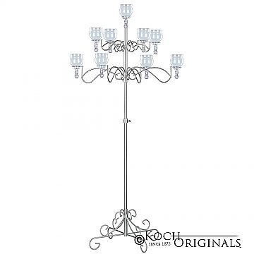 9-Light Tree Floor Candelabra - Teardrop Style - Frosted Silver