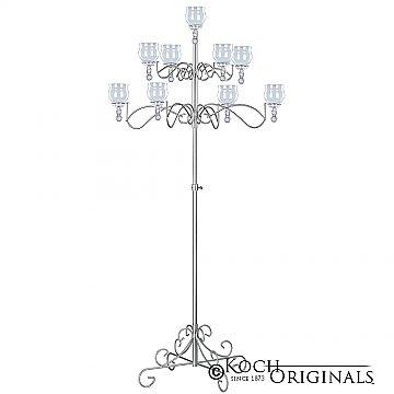 9-Light Tree Floor Candelabra - Teardrop Style - Frosted Silver