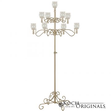 9-Light Tree Floor Candelabra - Teardrop Style - Gold Leaf