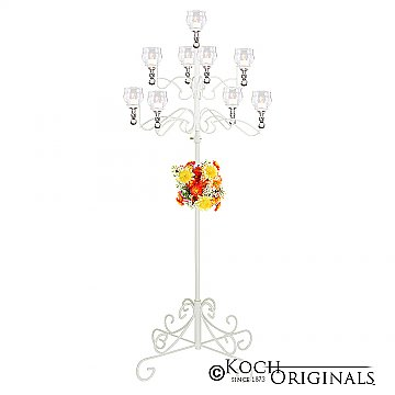 9-Light Tree Floor Candelabra - Teardrop Style - White