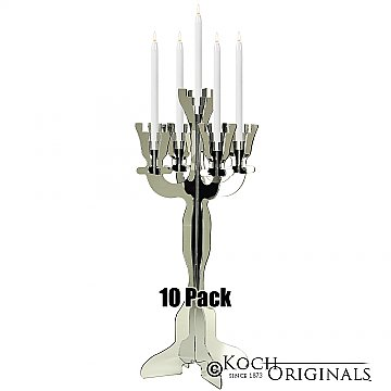 Illuminate Viewpoint Tabletop Candelabra - 10 Pack - 34'' Tall, 5 Light - Mirror Finish