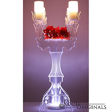 Illuminate Ivy Tabletop Candelabra - 30'' Tall, 4 Light w/ Flower Plate