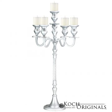 Elegance Tabletop Candelabra - 30'' - 5 light - Frosted Silver