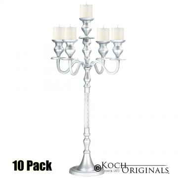 Elegance Tabletop Candelabra - 30'' - 5 light - 10 Pack - Frosted Silver
