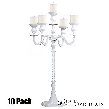 Elegance Tabletop Candelabra - 30'' - 5 light - 10 Pack - White