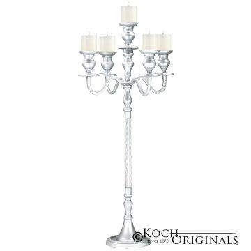 Elegance Candelabra - 40'' - 5 light - Frosted Silver