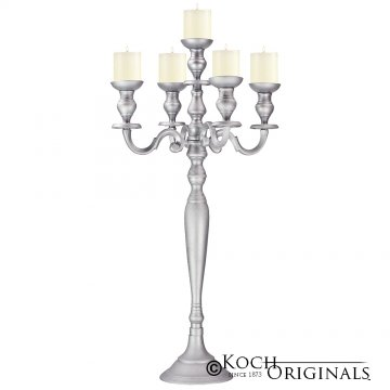 Hierarchy Candelabra - 40'' - 5 light - Frosted Silver