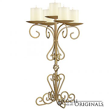 36'' Tall Old World Tabletop Candelabra - Pillar Style - Gold Leaf