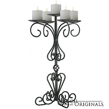 36'' Tall Old World Tabletop Candelabra - Pillar Style - Onyx Bronze