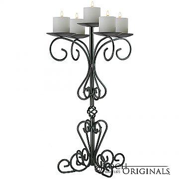 36'' Tall Old World Tabletop Candelabra - Pillar Style - Onyx Bronze