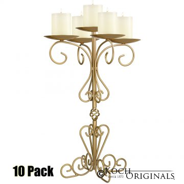 36'' Tall Old World Tabletop Candelabra - Pillar Style - 10 Pack - Gold Leaf