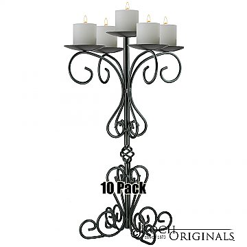 36'' Tall Old World Tabletop Candelabra - Pillar Style - 10 Pack - Onyx Bronze