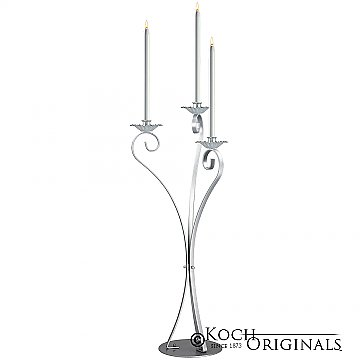 3-Light Swan Candelabra - Traditional Style - Frosted Silver