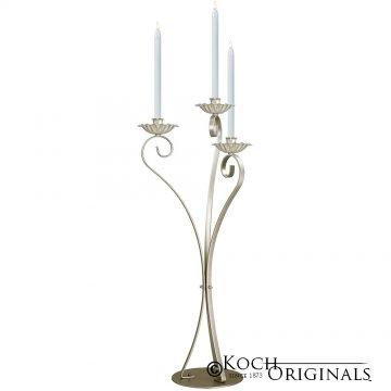 3-Light Swan Candelabra - Traditional Style - Gold Leaf