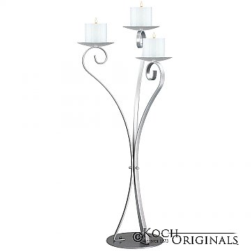 3-Light Swan Candelabra - Pillar Style - Frosted Silver