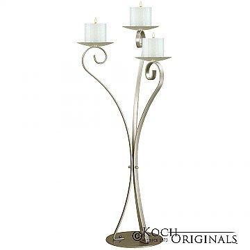 3-Light Swan Candelabra - Pillar Style - Gold Leaf