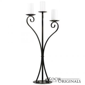 3-Light Swan Candelabra - Pillar Style - Onyx Bronze