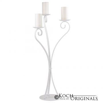 3-Light Swan Candelabra - Pillar Style - White