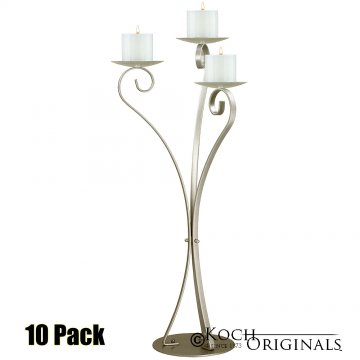 3-Light Swan Candelabra - Pillar Style - 10 Pack - Gold Leaf