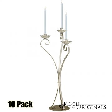 3-Light Swan Candelabra - Traditional Style - 10 Pack - Gold Leaf