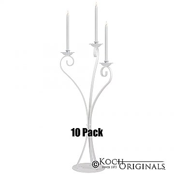 3-Light Swan Candelabra - Traditional Style - 10 Pack - White