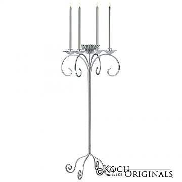 32'' Tall Tabletop Candelabra w/ Flower Bowl - Frosted Silver