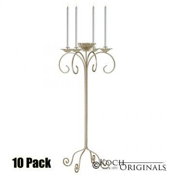 32'' Tall Tabletop Candelabra w/ Flower Bowl - 10 Pack - Gold Leaf
