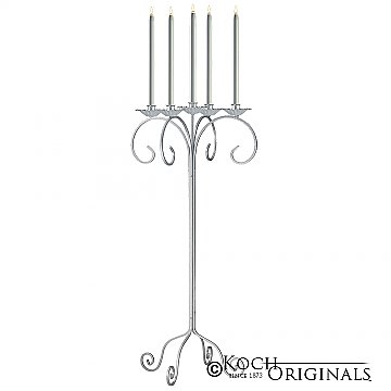 32'' Tall Tabletop Candelabra - Frosted Silver