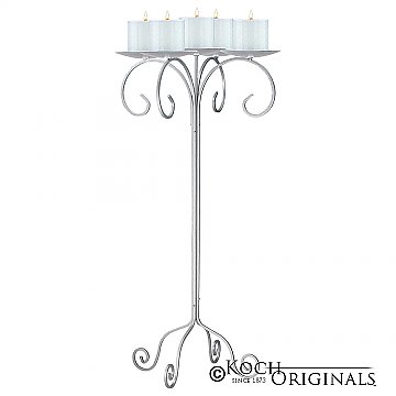 32'' Tall Tabletop Candelabra - Pillar Style - Frosted Silver
