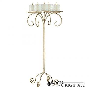 32'' Tall Tabletop Candelabra - Pillar Style - Gold Leaf