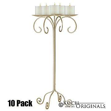 32'' Tall Tabletop Candelabra - Pillar Style - 10 Pack - Gold Leaf
