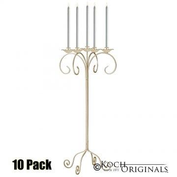 32'' Tall Tabletop Candelabra - 10 Pack - Gold Leaf