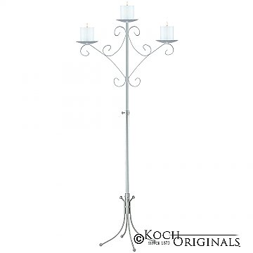 Convertible Unity Candelabra - Pillar Style - Frosted Silver
