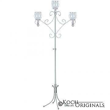 Convertible Unity Candelabra - Teardrop Style - Frosted Silver
